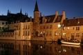 Картинка Bruges, Old city, Touristic, Night, Blue Sky, Belgium
