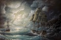 Картинка тучи, шторм, корабли, океан, живопись, волны, паруса, маяк, небо
