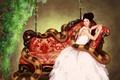 Картинка цветы, диван, змея, девушка, sanguisgelidus, арт, платье
