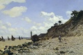 Картинка пейзаж, лодка, маяк, картина, парус, Клод Моне, Пляж в Онфлере
