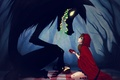 Картинка девочка, Красная шапочка, плащ, волк. сердце, лес, Red riding hood
