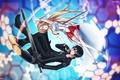 Картинка оружие, радость, мастер меча онлайн, парень, art, меч, девушка, настроение, rihiten breaker, sword art online, ...