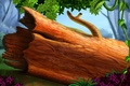 Картинка бревно, природа, растения, рисунок, ствол, лиана, сук, лес
