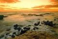 Картинка Камни, берег, море, вода, облака, закат