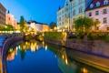 Картинка мост, огни, река, дома, вечер, фонари, канал, Словения, Ljubljana