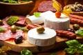Картинка стол, сыр, доска, оливки, маслины, колбасы, копчености, закуски
