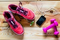 Картинка fitness, accessories, dumbbells, cell, slippers