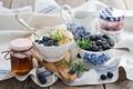 Картинка ягоды, завтрак, черника, мед, бананы, мёд, джем, Anna Verdina