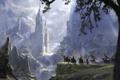 Картинка деревья, пейзаж, водопад, арт, флаги, fantasy, фэнтази, рыцари