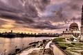 Картинка Город, река, пейзаж, мечеть