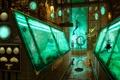 Картинка лаборатория, арт, русалка, ёмкость, рыбы, оборудование, колбы, аквариум