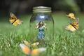 Картинка ситуация, девушка, бабочки, банка, природа