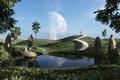 Картинка зелень, трава, девушка, деревья, пейзаж, город, озеро, холмы, луна, фигура, арт, дорожка, пики