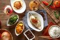Картинка блюда, ассорти, рис, соус, овощи, рыба