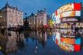Картинка площадь Пикадилли, Лондон, Англия, отражение, Сохо, фонтан Шафтесбари