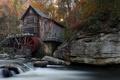 Картинка мельница, река, пейзаж