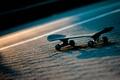 Картинка свет, ночь, спорт, дорога, скейт, скейтборд