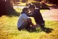 Картинка grass, in love, boy and girl, lovers