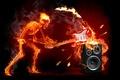 Картинка гитара, скелет, рок, огонь