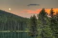 Картинка Банф, деревья, Alberta, Canada, озеро, Альберта, Banff National Park, Канада, Two Jack Lake, лес, закат