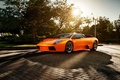 Картинка солнце, ламборгини, оранжевый, supercar, блик, Lamborghini Murcielago