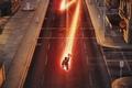 Картинка asphalt, The Flash, Grant Gustin, hero, speed, city, series, pavement, block, Barry Allen, fountain, man, ...
