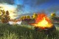 Картинка поле, взрыв, выстрел, арт, танки, WoT, шерман, World of Tanks, Dicker Max, С.Т.В.О.Л., M4 Sherman