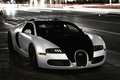 Картинка city, Bugatti, veyron, light, white, supercar, black, night