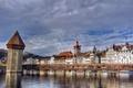 Картинка Швейцария, мост, Люцерн, Switzerland, Reuss River, мост Капельбрюкке, Kapellbrücke, река Ройсс, башня, Wasserturm, Lucerne, Башня ...