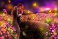 Картинка Любовь, бабочки, цветы