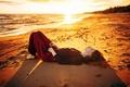 Картинка Песок, Девушка, Пляж, Солнце, Море