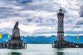 Картинка горы, Баденское озеро, Линдау, Германия, маяк, небо, Бавария, облака