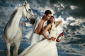 Картинка конь, актриса, белый, кампари, campari, мужчина, Ева Мендес, Eva Mendes, женщина