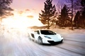 Картинка McLaren, MP4-12C, exotic, sportscar, Winter, Snow, fast, Sunset, White, Supercar