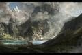 Картинка mountains, deer, animals, lake, look, landscape