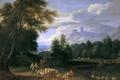 Картинка животные, горы, люди, замок, башня, картина, Адриан Франс Будевинс, Пейзаж с Пастухами