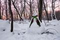 Картинка Sunset, Snowman, зима