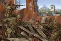 Картинка война, арт, винтовка, WW2, солдаты, развалины, экипировка, город, Rifle, Automatic, рисунок, бой, автоматическая, Browning
