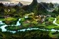 Картинка азия, природа, панорама, asia, город, деревня, китай, china, guilin, гуйлинь