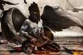 Картинка руки, трупы, крылья, шлем, бог войны, Кратос, битва, птицы, кровь, пресс, небо