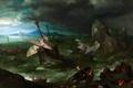 Картинка пейзаж, Ян Брейгель старший, скалы, Шторм, картина, море