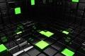 Картинка кубы, кубики, квадраты, зеленые, черные