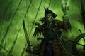 Картинка капитан, зеленый, призрак, попугай, череп