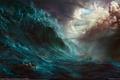 Картинка море, dehong he, волна, гибель, битва