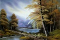 Картинка осень, лес, небо, вода, деревья, пейзаж, картина, живопись, тропинка, Bob Ross, Боб Росс