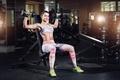 Картинка woman, pose, dumbbells, gym, sexy