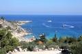 Картинка Коннос Бэй, побережье скалистый, залив, пляж, lagoon, sea, blue, море, bay, relaxation, Cyprus, Кипр, синий