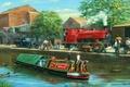 Картинка cadbury, картина, баржа, паровоз, автомобиль, утки, люди, город, рисунок, канал, пейзаж