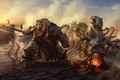 Картинка кошка, девушка, тигр, дым, костер, арт, нападение, гном, секира, черви, привал, Land of Fallen Stars