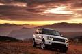 Картинка авто, Range Rover, белый, горы, закат